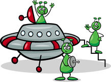 Aliens with ufo cartoon illustration Stock Image