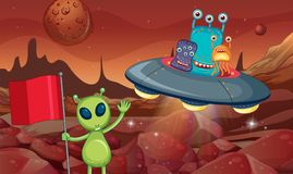 Aliens in UFO flying around the surface of planet. Illustration Royalty Free Stock Photography