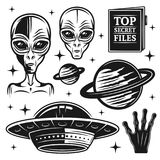 Aliens and ufo set of paranormal activity elements. Aliens and ufo set of paranormal activity vector objects and design elements in monochrome style isolated on Royalty Free Stock Images