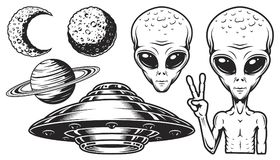 Aliens and ufo set. Of vector objects and design elements in monochrome style isolated on white background vector illustration