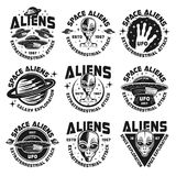 Aliens and ufo vintage emblems, labels, badges. Ufo and aliens collection of nine emblems, labels, badges, stickers and prints isolated on white background Royalty Free Stock Photo
