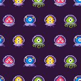 Aliens Wearing Protective Suits Seamless Pattern. Aliens seamless pattern vector, galaxy invaders wearing protective costumes. Monsters with eyes and tentacles stock illustration
