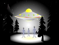 Aliens in the woods. Illustration of aliens and flying saucer in the woods at night Stock Images