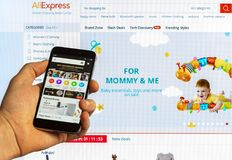 AliExpress global marketplace with products from manufacturers from China on the screen of a smartphone and Xiaomi on the computer. Adygea, Russia - January 5 Royalty Free Stock Photo