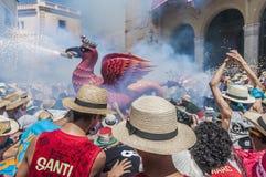 Aliga fantastic figure at Festa Major in Sitges Stock Images