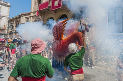 Aliga fantastic figure at Festa Major in Sitges, Spain Stock Photo