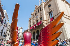 Aliga fantastic figure at Festa Major in Sitges, Spain Royalty Free Stock Photos