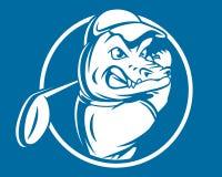 Aligator Crocodile Golf Sport Mascot Character Emblem Team Game Club royalty free illustration