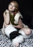 Aligator dziewczyna Zdjęcia Royalty Free