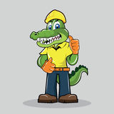 Aligator maskotka - pracownik budowlany Obrazy Royalty Free