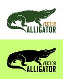 Aligator sylwetki wektoru ilustracja royalty ilustracja