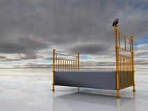 Alight. Bird sits atop brass bed royalty free illustration