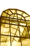 Alighted through a window. Lights passing through a stained glass window stock photo