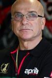 Aligi Deganello που λειτουργεί στο εργοστάσιο Aprilia RSV4 1000 με τη συναγωνιμένος ομάδα Superbike WSBK Aprilia Στοκ εικόνα με δικαίωμα ελεύθερης χρήσης