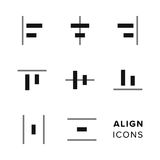 Align icons collection. Set of simple editing and formatting icons for toolbar. Stock Photography