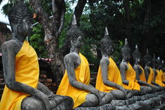 Aligned Buddha statues Thailand. Royalty Free Stock Photo