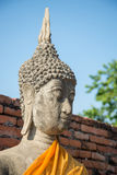 Aligned buddha statues. At Wat Yai Chaimongkol Ayutthaya Royalty Free Stock Photo
