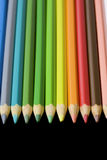 Aligned Color Pencils Royalty Free Stock Photography