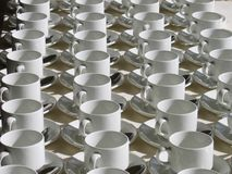 Aligned Cups. Of tea stock photos
