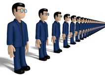 Aligned 3D Cartoon characters. Assembly of characters on a white backgroud with glasses and dark hairs. Neutral face without nose and mouth. placed in line Stock Image