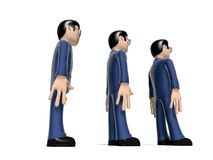 Aligned 3D Cartoon characters. Assembly of characters on a white backgroud with glasses and dark hairs. Neutral face without nose and mouth. placed in line Royalty Free Stock Photography
