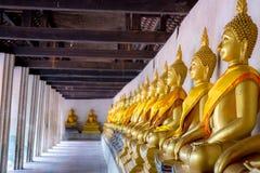 Aligned Buddha statues at Wat Phutthaisawan, Ayuthaya, Thailand. stock photo