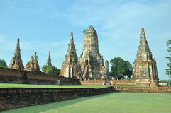 Aligned Pagoda at Wat Chaiwattanaram Temple. In Ayutthaya was the old capital of Thailand Stock Photography