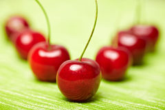 Aligned red cherries Royalty Free Stock Photography