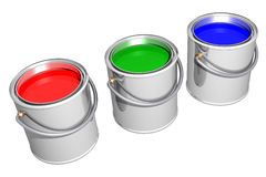 Aligned RGB paint cans (3D) Stock Image