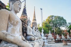 Aligned Sitting Buddha Statues with ancient ruin of temple at wa Royalty Free Stock Image
