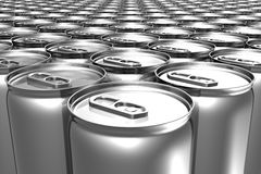 Aligned soda cans Stock Image