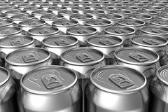 Aligned soda cans Royalty Free Stock Images