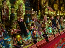 Aligned statues in Buddhist temple Royalty Free Stock Image