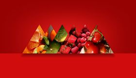 Aligned triangles full of different fruity textures. Six side by side triangles full of various fruity textures: orange pieces, tangerines, limes, strawberries Royalty Free Stock Photo
