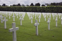 Aligned war graves, Meuse-Argonne American Cemetery Royalty Free Stock Photo