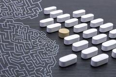 Aligned white pills Stock Images