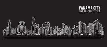 Alignement de paysage urbain conception d'illustration de vecteur d'art - Panamá City Photo stock