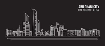 Alignement de paysage urbain conception d'illustration de vecteur d'art - ville d'Abu Dhabi Photo libre de droits