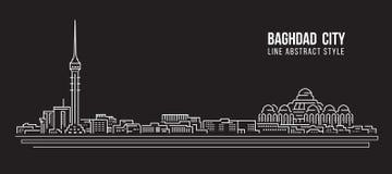 Alignement de paysage urbain conception d'illustration de vecteur d'art - ville de Bagdad illustration de vecteur