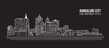 Alignement de paysage urbain conception d'illustration de vecteur d'art - ville de Bangalore illustration libre de droits