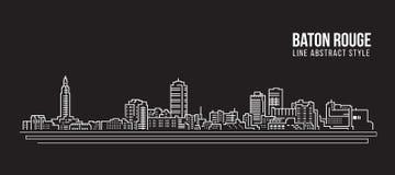 Alignement de paysage urbain conception d'illustration de vecteur d'art - ville de Baton Rouge Photographie stock libre de droits