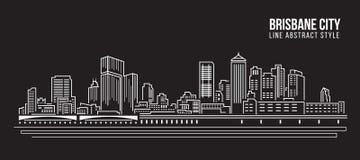 Alignement de paysage urbain conception d'illustration de vecteur d'art - ville de Brisbane illustration stock