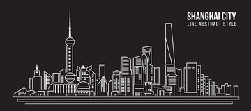 Alignement de paysage urbain conception d'illustration de vecteur d'art - ville de Changhaï Photo libre de droits