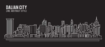 Alignement de paysage urbain conception d'illustration de vecteur d'art - ville de Dalian illustration stock