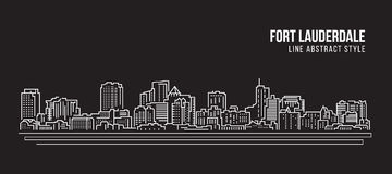 Alignement de paysage urbain conception d'illustration de vecteur d'art - ville de Fort Lauderdale illustration stock