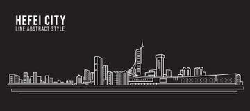 Alignement de paysage urbain conception d'illustration de vecteur d'art - ville de Hefei illustration de vecteur