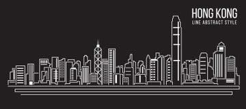 Alignement de paysage urbain conception d'illustration de vecteur d'art (ville de Hong Kong) Images stock