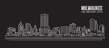Alignement de paysage urbain conception d'illustration de vecteur d'art - ville de Milwaukee Image libre de droits