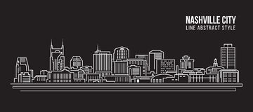 Alignement de paysage urbain conception d'illustration de vecteur d'art - ville de Nashville Image libre de droits