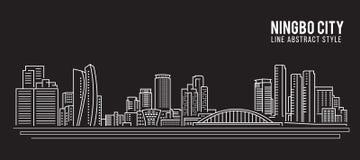 Alignement de paysage urbain conception d'illustration de vecteur d'art - ville de Ningbo illustration libre de droits